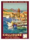 Collioure, France - Eastern Pyrenees - Railways Paris-Orleans-Midi Poster von E. Paul Champseix