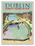 Dublin, Ireland - Coach Tours by CIÉ - O'Connell Bridge over the River Liffey Prints by  Pacifica Island Art