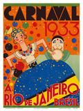 Carnaval (Carnival) 1933 - A Rio de Janeiro, Bresil (Brazil) Poster di  Renato