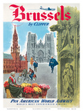 Brussels, Belgium by Clipper - Pan American World Airways (PAA) Poster by  Pacifica Island Art