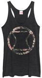Juniors Tank Top: Black Widow- Floral Logo Damestanktops