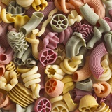Pasta in Assorted Shapes and Colours (Filling the Image) Fotografisk tryk af Dave King