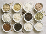 Various Types of Rice in Small Bowls Photographic Print by Ingvar Eriksson