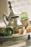 Still Life with Arabian Teapot and Tea Glasses Fotografie-Druck von Frederic Vasseur