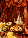 Middle Eastern Meal with Quail, Couscous, Fruit and Tea Photographic Print by Barbara Lutterbeck