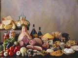 Still Life with Italian Food and Wine Fotografie-Druck von Daniel Czap