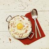Spaghetti Carbonara with Egg Fotografisk tryk af Thomas Dhellemmes