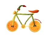 Vegetables and Fruit Forming the Shape of a Bicycle Fotografisk trykk av Luzia Ellert