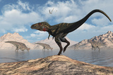 A Carnivorous Nanotyrannus Stalking a Herd of Corythosaurus Poster di Stocktrek Images,