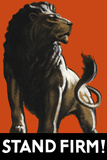 Vintage World Ware II Poster Featuring a Male Lion Posters av Stocktrek Images,
