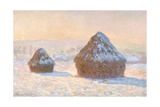 Haystacks, Snow Effect, Morning by Claude Monet Giclée-Druck von Claude Monet