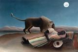 La Bohémienne Endormie (The Sleeping Gypsy) by Henri Rousseau Giclee-trykk av Henri Rousseau