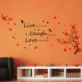 Live Laugh Love Cherry Blossoms Decalcomania da muro