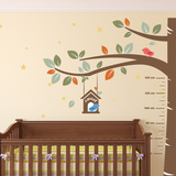 Sweet Birds Nursery Measurement Tree Autocollant mural