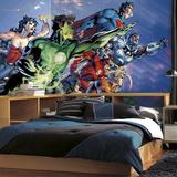 Justice League XL Chair Rail Prepasted Mural Wallpaper Mural