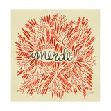 Merde – Red on Yellow Lámina giclée por Cat Coquillette