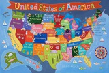 Kid's USA Laminated Map Julisteet