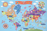 Kid's Laminated World Map Plakat