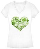 Women's: Lucky Irish Heart V-Neck T-shirt con collo a V