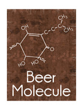 Beer Molecule 2 Rect Brown Premium Giclee Print by Lauren Gibbons