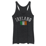 Juniors Tank Top: Distressed Irish Flag Damestanktops