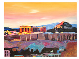Athens Greece Akropolis At Sunset Neu Art par M Bleichner