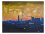 Hamburg Skyline Dusk 2 Art par M Bleichner