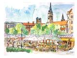 Munich Viktualienmarkt Aquarell Affiches par M Bleichner