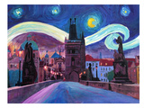 Starry Night In Prague Affiche par M Bleichner