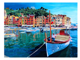 Portofino - Tranquility In The Harbour Of Portofino - Italy Prints by M Bleichner