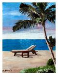 Strand Chairs On Caribbean Beach Or Affiche par M Bleichner