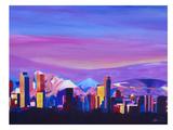 Denver Colorado Sunset Mood With Mountains Affiches par M Bleichner