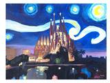 Starry Night In Barcelona Affiches par M Bleichner