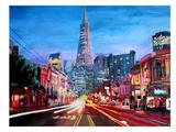 San Francisco Columbus St. With Cafe Vesuvio And Transamerica At Dawn Affiche par M Bleichner