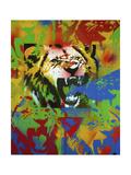 Lion Reproduction procédé giclée par  Abstract Graffiti