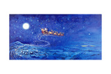 Santa in Night Sky over Winter Village in Sleigh Pulled by Reindeer Reproduction procédé giclée par Bill Bell