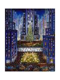 Rockefeller Center 2 Blue Reproduction procédé giclée par Bill Bell