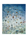 Raining Cats and Dogs Giclee Print by Bill Bell
