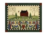 Red House with Quilts Giclee Print by Debbie McMaster