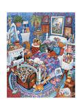 Blue Bedroom Cats Reproduction procédé giclée par Bill Bell