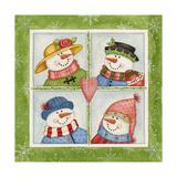 Four Snowmen Reproduction procédé giclée par Debbie McMaster