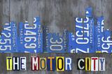 Detroit City Skyline License Plate Art Lámina giclée por Design Turnpike