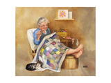 Elderly Woman Quilting Stampa giclée di Dianne Dengel