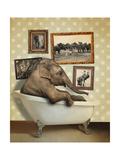 Elephant in Tub Lámina giclée por  J Hovenstine Studios