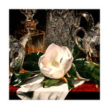 Magnolia W Silver and Crystal Giclee Print by Laurin McCracken