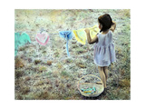 Little Girl Hanging Laundry Giclee Print by Nora Hernandez