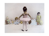 Little Ballerina in Pink with Dolls Giclee Print by Nora Hernandez
