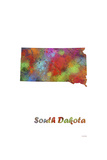 South Dakota State Map 1 Giclee-trykk av Marlene Watson