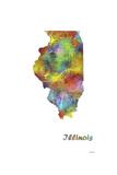 Illinois State Map 1 Reproduction procédé giclée par Marlene Watson