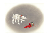 Dalmation 6- Caught Red Pawed Giclee Print by Peggy Harris